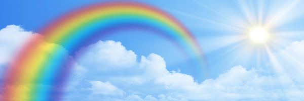 Rainbow on the blue sky banner