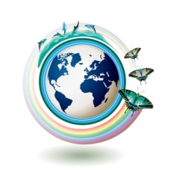 Eco Earth blue with butterflies