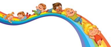 Children ride on a rainbow