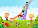 Cartoon little kids playing slide rainbow in the jungle