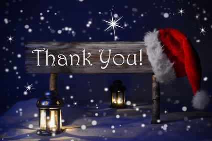 Christmas Sign Candlelight Santa Hat Thank You