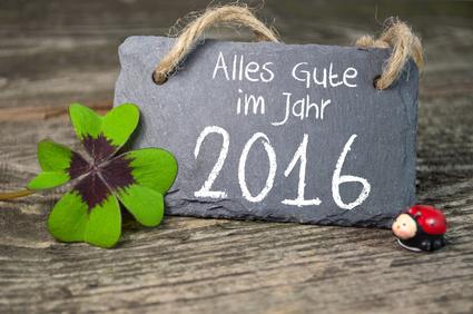 Tafel, Kreidetafel mit Klee und Marienkfer - Ich wünsche Dir ein erfolgreiches, glückliches, friedliches, erfreuliches und gesegnetes Jahr 2016