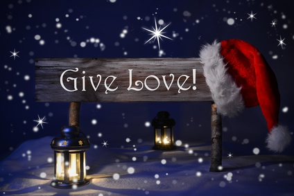 Christmas Sign Candlelight Santa Hat Give Love