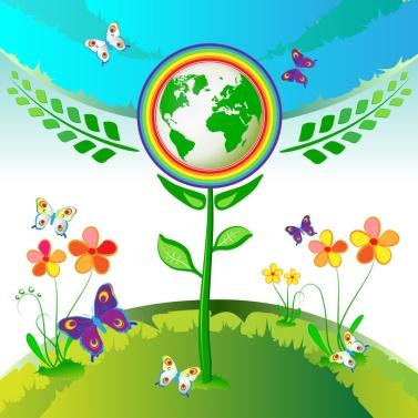 SOS - HEILUNG - WELTFRIEDEN - Eco Earth Flowers, Garden, Butterflies and Rainbow