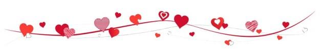 Rote Herzen tummeln sich, Vektor